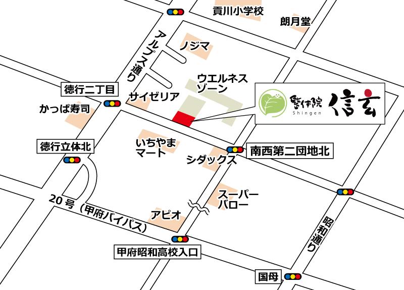甲府徳行院の地図
